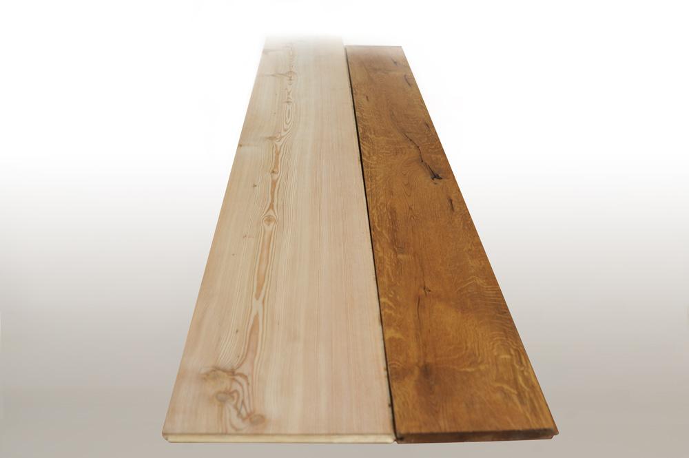 Olmo e rovere verniciato, spazzolato in legno massiccio